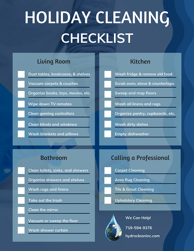 Holiday Cleaning Checklist with list of cleaning tasks for the living room, kitchen, and bathroom. There is also a list of when to call a professional, including carpet cleaning, area rug cleaning, tile and grout cleaning and upholstery cleaning.
